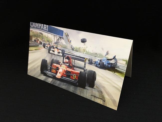 フェラーリ 641 ナイジェル・マンセル 1990年ポルトガルGP マイケル ターナー クリスマス・ニューイヤーカード  2つ折り