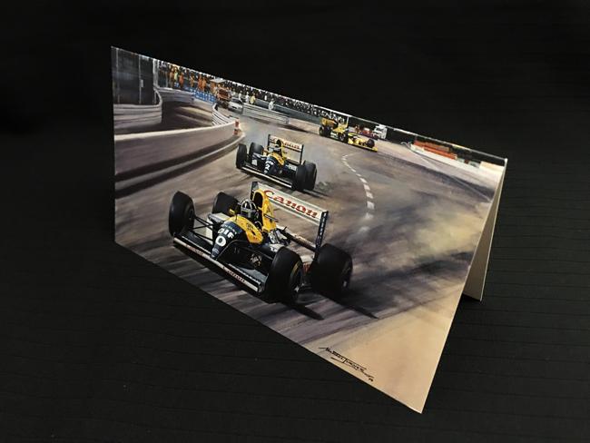 ウィリアムズ FW15C 1993年ベルギーGP デイモン・ヒル マイケル・ターナー クリスマス・ニューイヤーカード 2つ折り