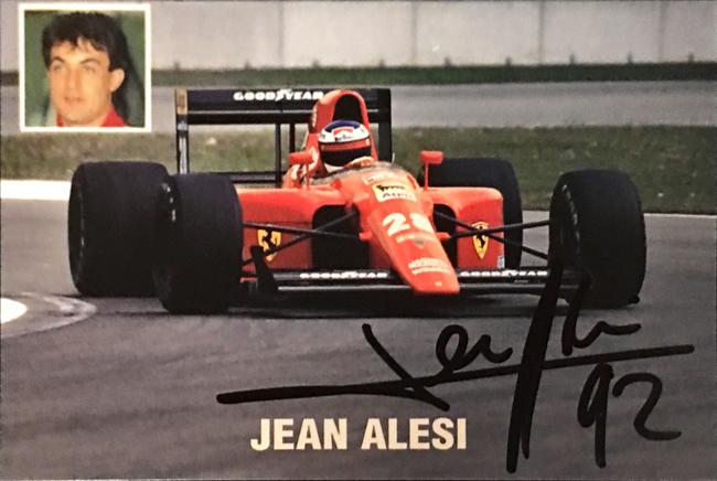 J.アレジ 直筆サイン入 1991 フェラーリ公式フォトカード(A)