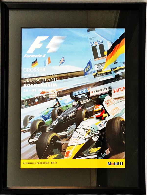 J.ハーバート直筆サイン入 F1 1994年ドイツGP公式プログラム(額装品)
