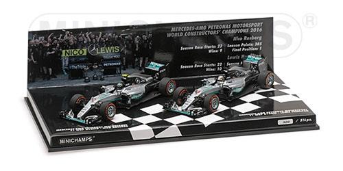 ミニチャンプス 1/43 メルセデス W07  2016年コンストラクターズチャンピオン  2台セット