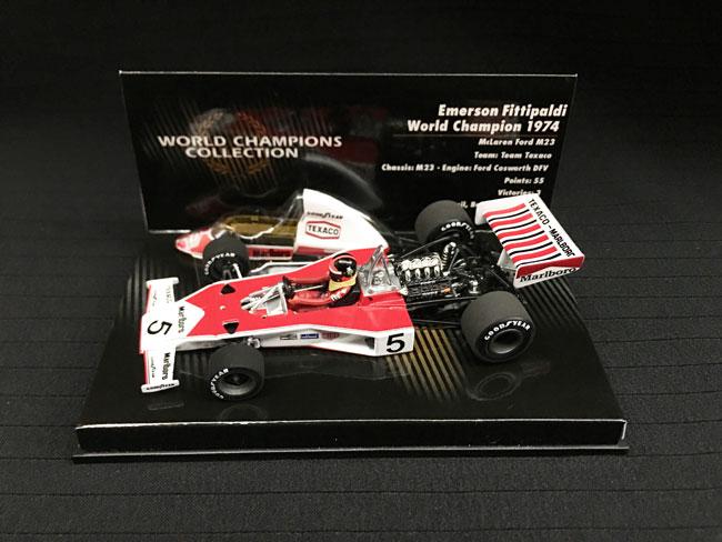 ミニチャンプス 1/43 マクラーレンM23 E.フィッティパルディ 1974年ワールドチャンピオンエンジン付当店オリジナルタバコロゴモデル