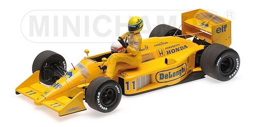 【再入荷】ミニチャンプス 1/18 ロータス ホンダ 99T 中嶋悟 1987年イタリアGPライド オン アイルトン・セナフィギュア付