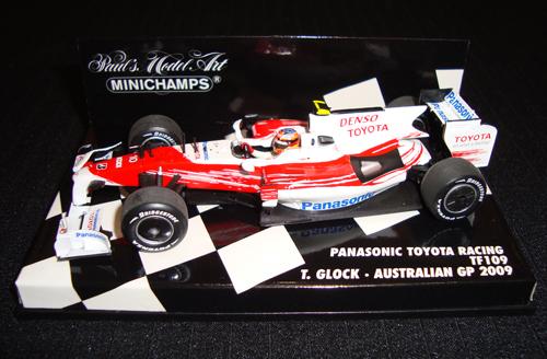 ミニチャンプス 1/43 TOYOTA(トヨタ) TF109 T.グロック オーストラリアGP チェッカー台紙