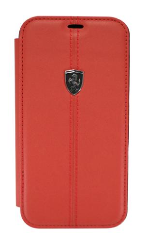 """フェラーリiPhoneXR カバー """"Ferrari - Genuine leather Booktype Case RED"""" レッド"""