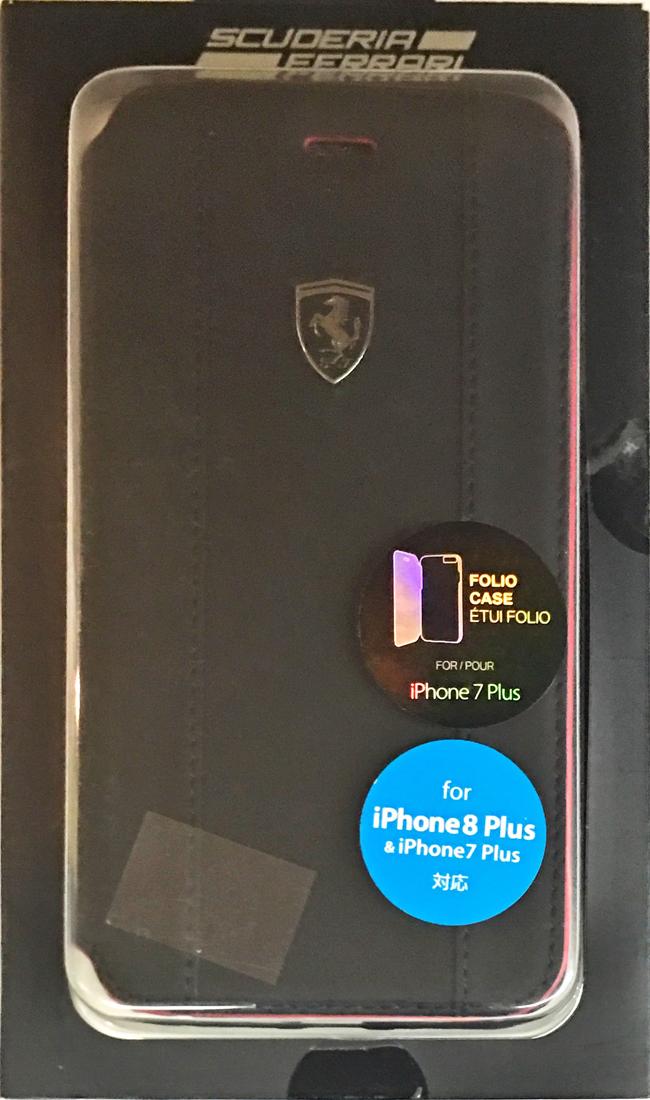 【アウトレットSALE品】フェラーリiPhone8Plus/7Plus対応 レザーブック型ケース ブラック 【SALE】¥3480