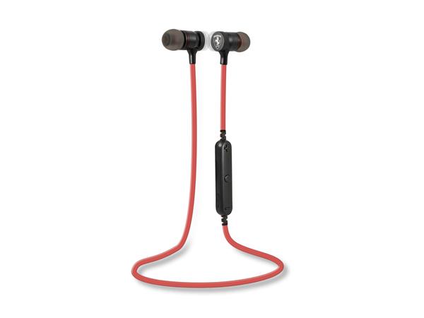 フェラーリ ワイヤレスステレオイヤホン Bluetooth4.1 マイク付きリモコン マグネットカナル型 レッド