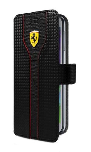 """【再入荷】フェラーリ汎用スマートフォンカバー""""RACING - Carbon PU leather Trim Universal Booktype Case Black"""""""