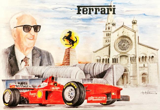 フェラーリミュージアム エンツォ・フェラーリ 生誕100周年記念 L.アントニオ イラストカード(A)