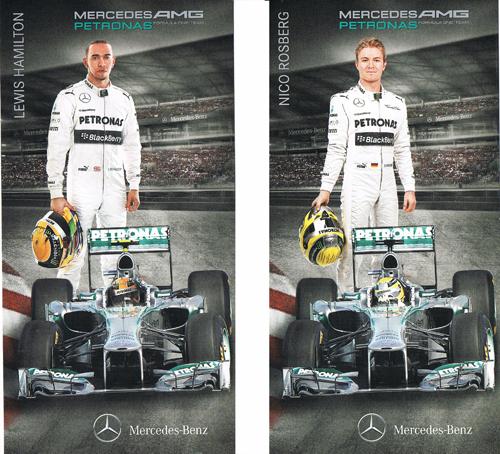 2013 メルセデスAMG ドライバーズカード 2枚セット(L.ハミルトン・N.ロズベルグ)