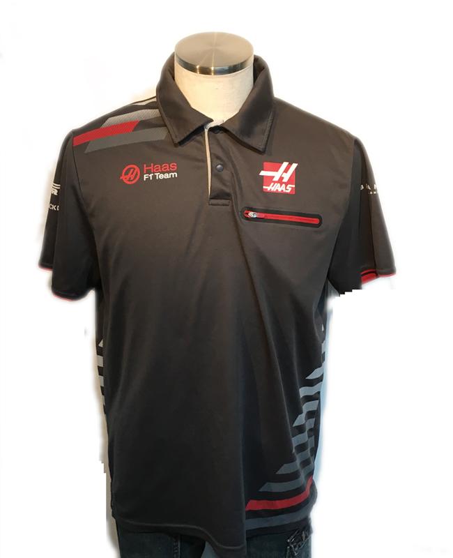 【SALE】ハースF1チーム 2018 チーム支給品 チーム半袖ボタンシャツ サイズL USED