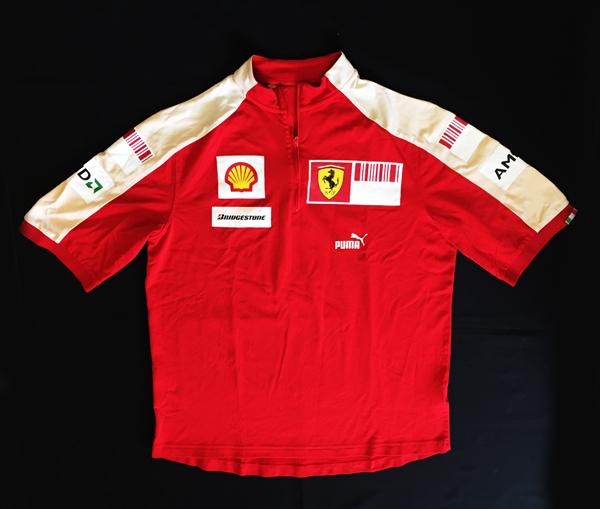 2009 フェラーリ チーム支給品 PIT Tシャツ バーコード サイズM USED