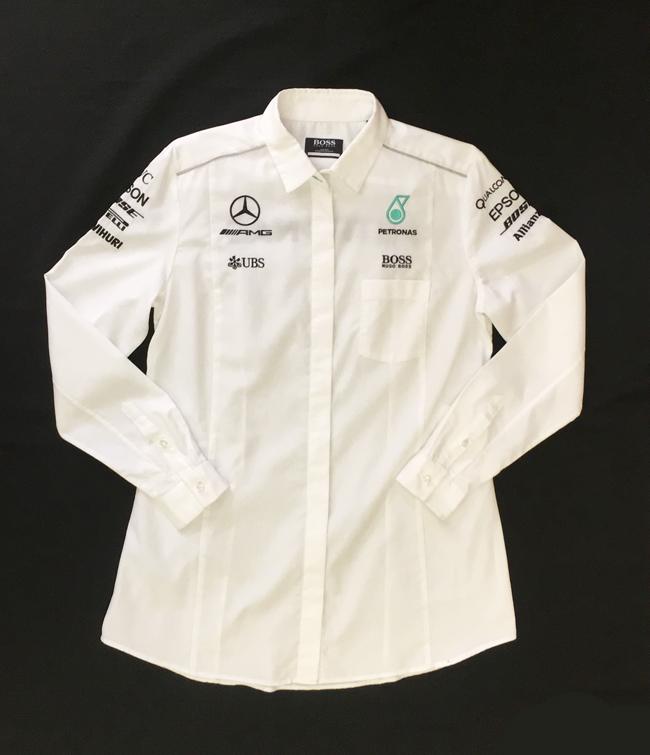 2017 メルセデスF1 チーム支給品 女性用 長袖ピットシャツ HUGOBOSS製 USED ほぼ新品 LADYSサイズL