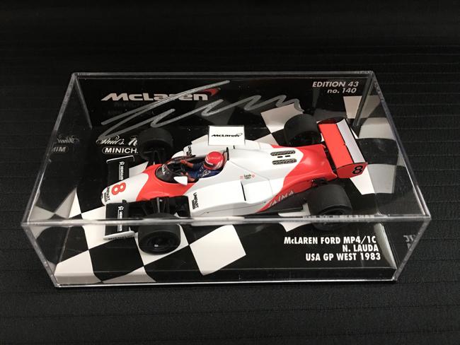 N.ラウダ直筆サイン入 ミニチャンプス 1/43 マクラーレン MP4/1C 1983年USA-GP WESTモデル