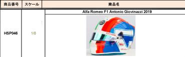 【2019/10月発売予定(消費税10%)ご予約商品】HSP046 スパーク 1/8 アルファロメオ A.ジョビナッティ 2019 ヘルメット