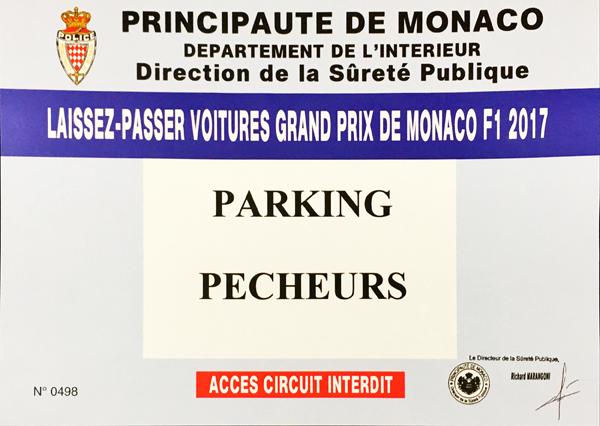 2017 F1モナコGP パーキングパスペーパー(駐車許可証)
