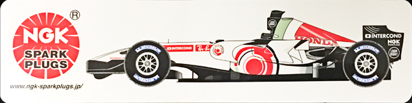 ホンダ F1 レーシング 2006 NGKプロモーションステッカー サイズ:5×20?