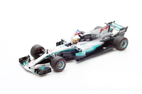 スパーク 1/18 メルセデス F1 W08 L.ハミルトン 2017年メキシコGPワールドチャンピオン フラッグ付き