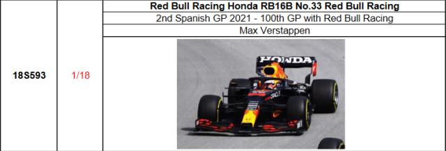 【スパーク(18S593)2021年12月発売予定ご予約商品5/30締切】1/18 レッドブル・ホンダ RB16B M.フェルスタッペン 2021年スペインGP2位 No.33 100th GP with Red Bull Racing予価:税込¥22000