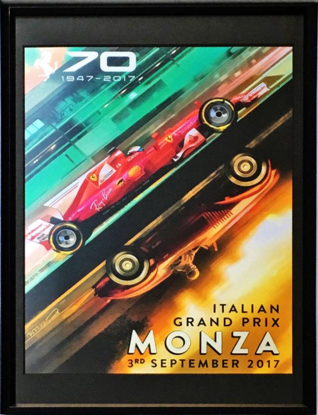2017年F1イタリアGPポスター(フェラーリ70周年記念ver)額装品