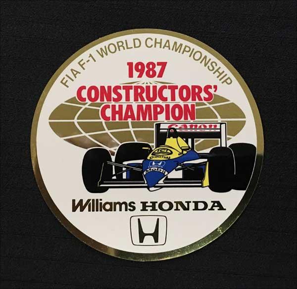 HONDA(ホンダ)F1 1987 ウィリアムズ コンストラクターズチャンピオン獲得記念 プロモーションステッカー
