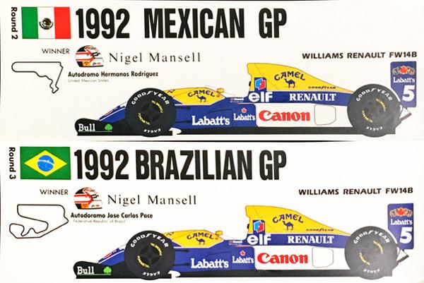 ウィリアムズ FW14B 1992 N.マンセル ステッカー