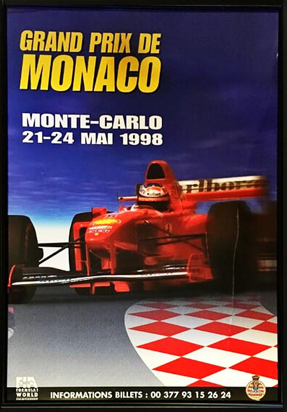 1998 F1モナコGP公式ポスター(フェラーリ・シューマッハ表紙)額装品