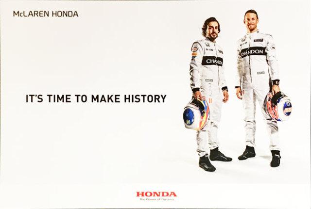 HONDA マクラーレン ホンダ 2016 ドライバー プロモーションポストカード