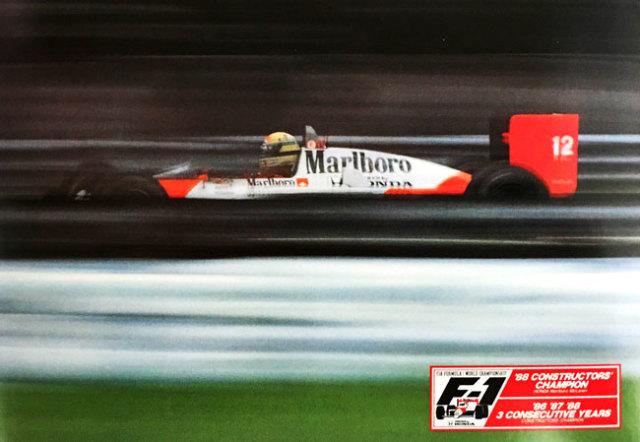 ホンダ HONDA F1 マクラーレン MP4/4 A.セナ 1988年 3回コンストラクターズチャンピオン獲得記念 ポストカード TYPED