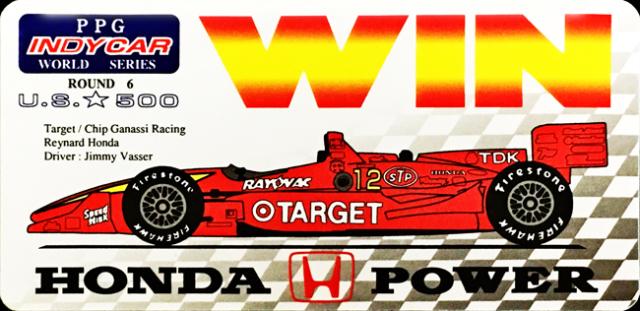 HONDA インディシリーズ1996年US500 ジミー・バッサー 優勝記念ステッカー