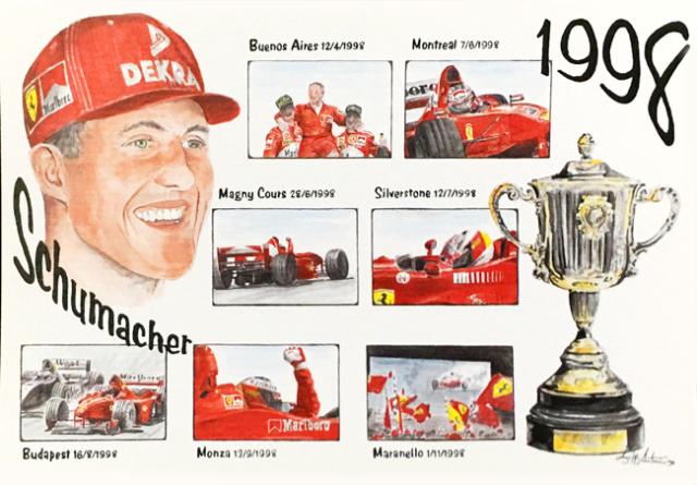 フェラーリミュージアム フェラーリ1998年シューマッハ L.アントニオ イラストカード