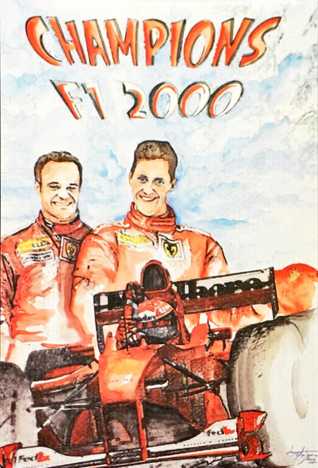 フェラーリミュージアム(FERRARI F1)2000年チャンピオン L.アントニオ イラストカード