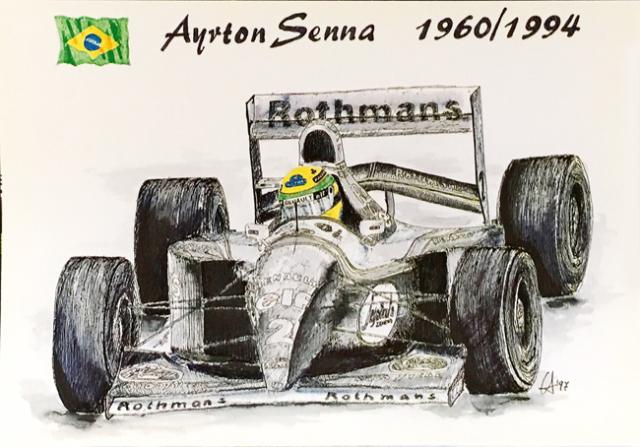 アイルトン・セナ ウィリアムズ FW16 L.アントニオ イラストカード