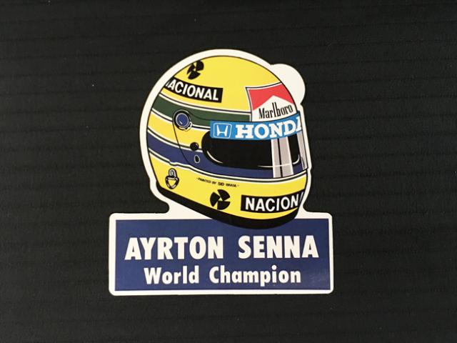 アイルトン・セナ ワールドチャンピオン・ヘルメットステッカー