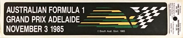 オーストラリアGP 1985年 公式ステッカー
