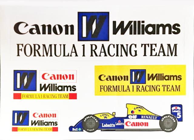 CANON ウィリアムズ F1 1992年 プロモーションステッカーセット