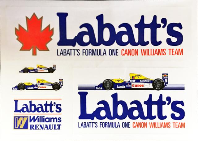 Labatt's 1992年 ウィリアムズ F1 プロモーションステッカーセット