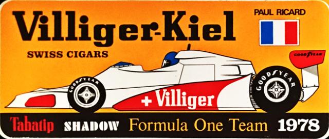 SHADOW(シャドウ F1)チーム 1978年 Villiger-Kiel フランスGPプロモーションステッカー