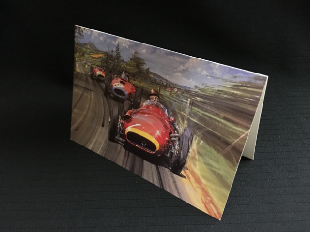 マセラティ250F 1957年ドイツGP ファン・マヌエル・ファンジオ ニコラス・ワッツ アートカード 2つ折り