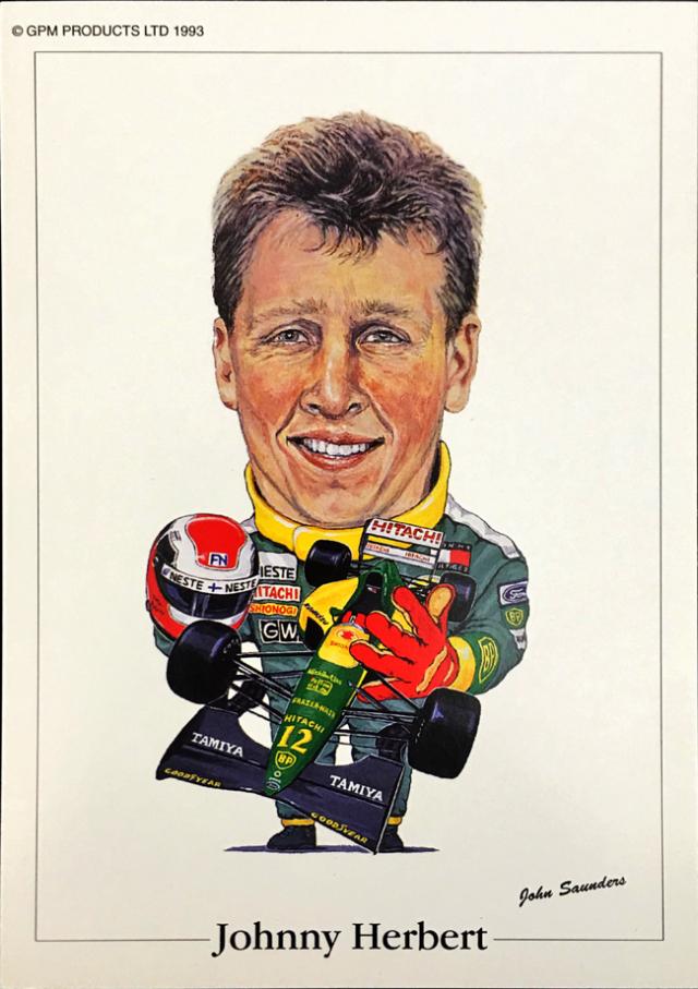 ロータス 107 1992年 ジョニー・ハーバート ジョン・サンダース イラストカード