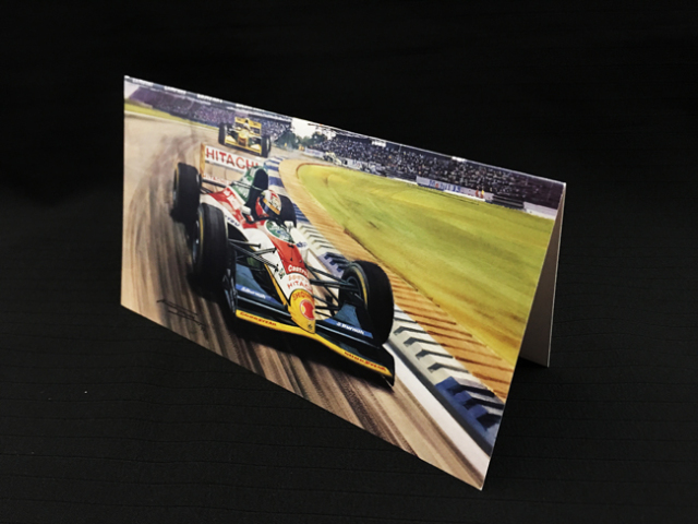ロータス 107B 1993年イギリスGP ジョニー・ハーバート マイケル・ターナー クリスマス・ニューイヤーカード  2つ折り