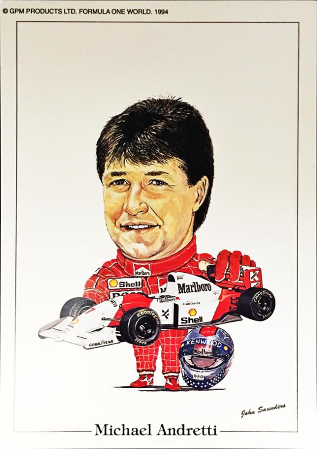 マクラーレン MP4/8 1993年マイケル・アンドレティ ジョン・サンダース イラストカード