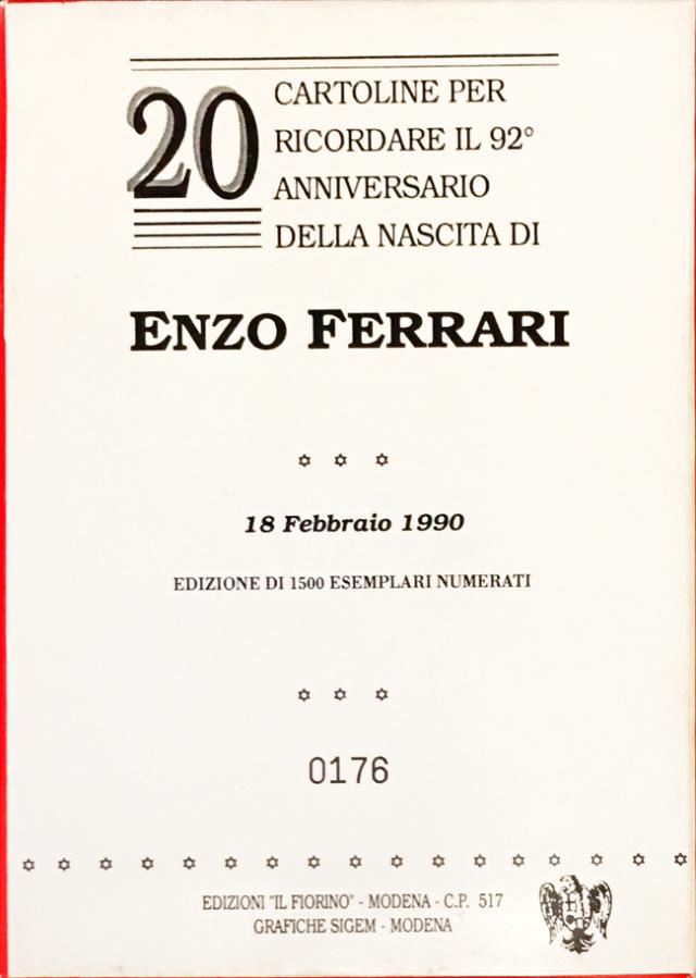 Enzo Ferrari(エンツォ・フェラーリ)生誕92周年メモリアルポストカード20枚セット