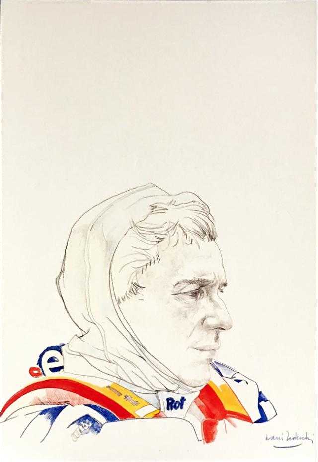 GalleriaFerrari(ガレリアフェラーリ博物館) セナ追悼展記念 ナニ・テデスキ イラストポストカード(A)