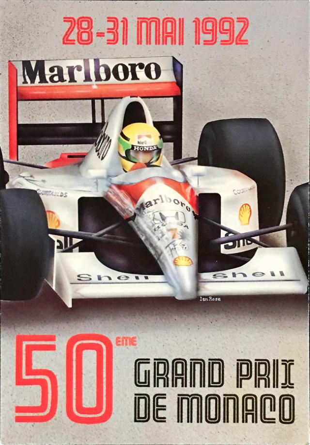 1992年 F1モナコGP 公式ポストカード アイルトン・セナ