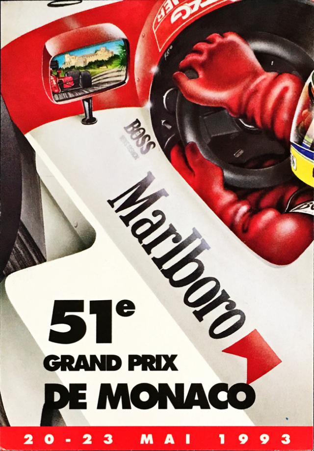 1993年 F1モナコGP 公式ポストカード アイルトン・セナ