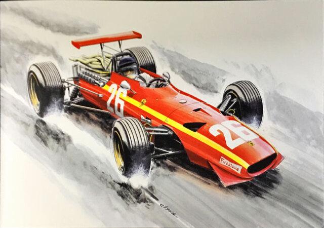 J.イクス フェラーリ312F1 1968年フランスGP クロビス アートカード