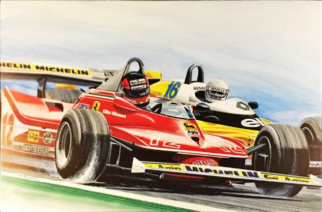 ジル・ビルニューブ フェラーリ312T4 1979年フランスGP クロビス グリーティングカード