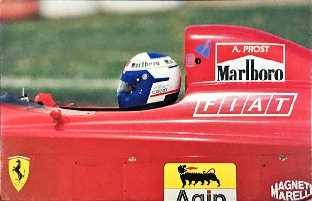 A.プロスト フェラーリ641 1990年公式フォトポストカード マラネロ消印付
