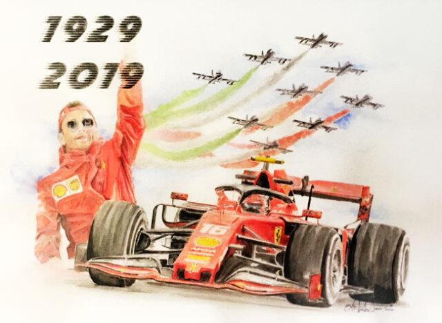 フェラーリ(FERRARI F1)SF90周年記念C.ルクレール L.アントニオ イラストカード